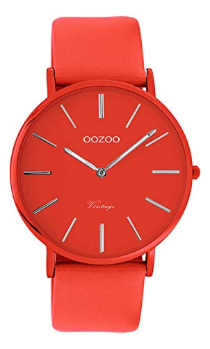 Oozoo Vintage Damenuhr Colors of The Summer mit Lederband Flach 40 MM Rot C9885 - 1