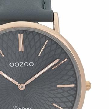 Oozoo Vintage Damenuhr Lederband 40 MM Rose/Blaugrau/Blaugrau C9338 - 2