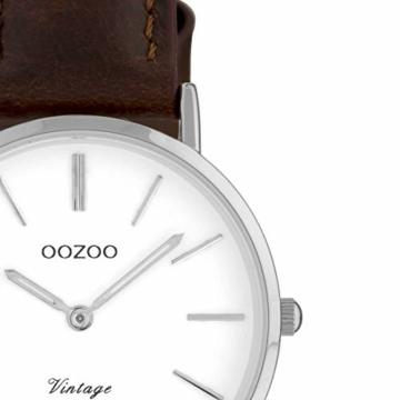 Oozoo Vintage Damenuhr Lederband 40 MM Weiss/Dunkelbraun C9830 - 2
