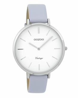 Oozoo Vintage Damenuhr Lederband 40 MM Weiss/Flieder C9386 - 1