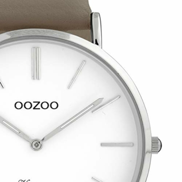 Oozoo Vintage Damenuhr mit Lederband Flach 40 MM Weiß/Taupe C20076 - 2