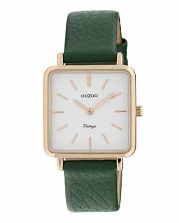 Oozoo Vintage Damenuhr mit Lederband Quadratisch 28 MM Rose/Weiß/Grün C9949 - 1