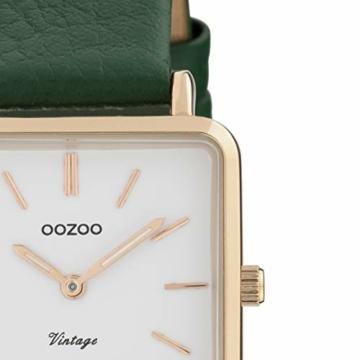 Oozoo Vintage Damenuhr mit Lederband Quadratisch 28 MM Rose/Weiß/Grün C9949 - 2