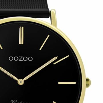 Oozoo Vintage Damenuhr mit Milanaise Edelstahlband Flach 40 MM Schwarz/Goldfarben C9893 - 2