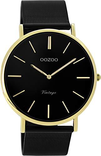 Oozoo Vintage Damenuhr mit Milanaise Edelstahlband Flach 40 MM Schwarz/Goldfarben C9893 - 1