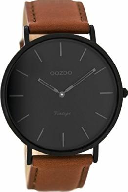 Oozoo Vintage Herrenuhr Lederband 44 MM Black/Schwarz/Rotbraun C8126 - 1
