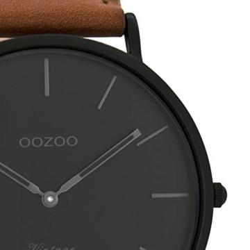 Oozoo Vintage Herrenuhr Lederband 44 MM Black/Schwarz/Rotbraun C8126 - 2