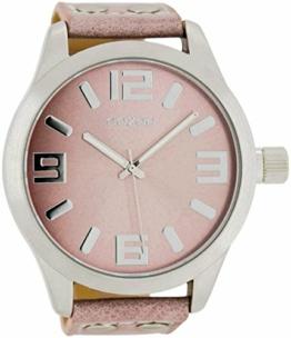 Oozoo XXL Armbanduhr Basic Line mit Lederband 52 MM Pinkgrau/Pinkgrau C1008 - 1