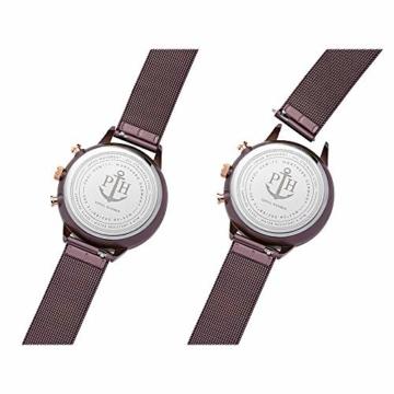 PAUL HEWITT Armbanduhr Damen Everpuls Dark Mauve Mesh - Damen Uhr in Dark Mauve mit einem abgestimmten Meshband aus Edelstahl und einem moccafarbenen Ziffernblatt - 3