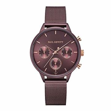 PAUL HEWITT Armbanduhr Damen Everpuls Dark Mauve Mesh - Damen Uhr in Dark Mauve mit einem abgestimmten Meshband aus Edelstahl und einem moccafarbenen Ziffernblatt - 1