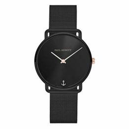 PAUL HEWITT Armbanduhr Damen Miss Ocean Black Sunray - Damen Uhr (Schwarz), Damenuhr Edelstahlarmband in Schwarz, schwarzes Ziffernblatt - 1