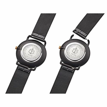 PAUL HEWITT Armbanduhr Damen Miss Ocean Black Sunray - Damen Uhr (Schwarz), Damenuhr Edelstahlarmband in Schwarz, schwarzes Ziffernblatt - 4