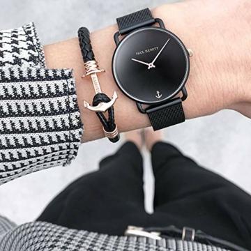 PAUL HEWITT Armbanduhr Damen Miss Ocean Black Sunray - Damen Uhr (Schwarz), Damenuhr Edelstahlarmband in Schwarz, schwarzes Ziffernblatt - 6