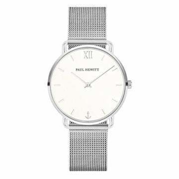 PAUL HEWITT Armbanduhr Damen Miss Ocean White Sand - Damen Uhr (Silber), Damenuhr Edelstahlarmband in Silber, weißes Ziffernblatt - 1