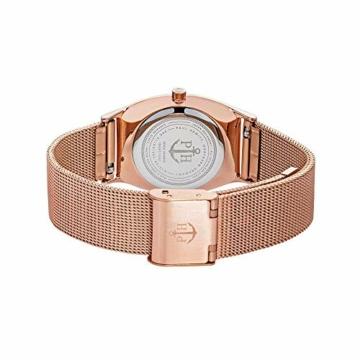 PAUL HEWITT Armbanduhr Damen Modern Edge Line Black Sunray - Damen Uhr (Rosegold), Damenuhr Edelstahlarmband in Rosegold, schwarzes Ziffernblatt - 2