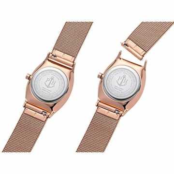 PAUL HEWITT Armbanduhr Damen Modern Edge Line Black Sunray - Damen Uhr (Rosegold), Damenuhr Edelstahlarmband in Rosegold, schwarzes Ziffernblatt - 4