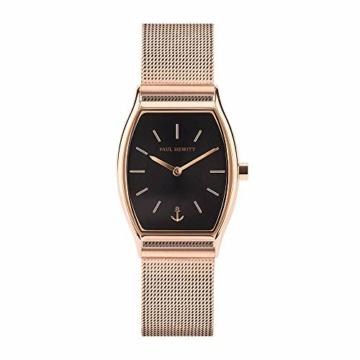 PAUL HEWITT Armbanduhr Damen Modern Edge Line Black Sunray - Damen Uhr (Rosegold), Damenuhr Edelstahlarmband in Rosegold, schwarzes Ziffernblatt - 1