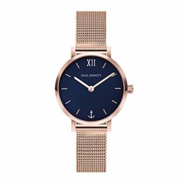 PAUL HEWITT Armbanduhr Damen Sailor Line Modest Blue Lagoon - Damen Uhr (Rosegold), Damenuhr Edelstahlarmband in Rosegold, blaues Ziffernblatt - 1