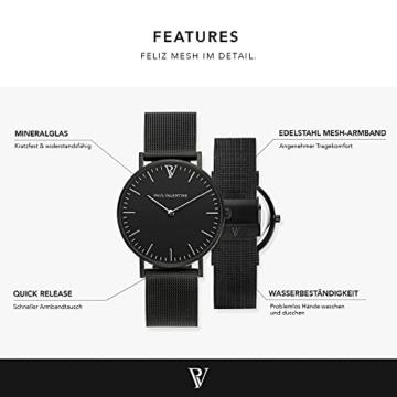 Paul Valentine Damenuhr - Black Feliz Mesh - Armbanduhr mit Metallic-Ziffernblatt, kratzfestes Glas, schmales Armband in schwarz, Uhr für Damen (36mm) - 2