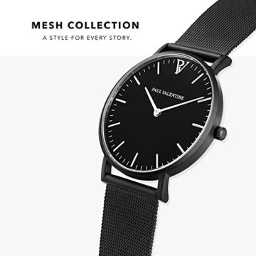 Paul Valentine Damenuhr - Black Feliz Mesh - Armbanduhr mit Metallic-Ziffernblatt, kratzfestes Glas, schmales Armband in schwarz, Uhr für Damen (36mm) - 3