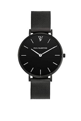 Paul Valentine Damenuhr - Black Feliz Mesh - Armbanduhr mit Metallic-Ziffernblatt, kratzfestes Glas, schmales Armband in schwarz, Uhr für Damen (36mm) - 1