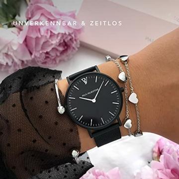 Paul Valentine Damenuhr - Black Feliz Mesh - Armbanduhr mit Metallic-Ziffernblatt, kratzfestes Glas, schmales Armband in schwarz, Uhr für Damen (36mm) - 4
