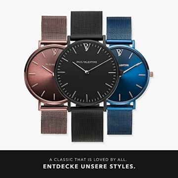 Paul Valentine Damenuhr - Black Feliz Mesh - Armbanduhr mit Metallic-Ziffernblatt, kratzfestes Glas, schmales Armband in schwarz, Uhr für Damen (36mm) - 6