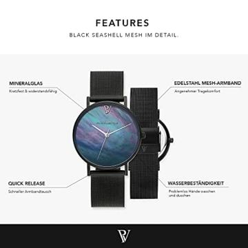Paul Valentine Damenuhr - Black Seashell - Armbanduhr mit Ziffernblatt aus Perlmutt, kratzfestes Glas, Edelstahl-Armband schwarz, Mesh Uhr für Damen (36mm) - 2