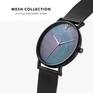 Paul Valentine Damenuhr - Black Seashell - Armbanduhr mit Ziffernblatt aus Perlmutt, kratzfestes Glas, Edelstahl-Armband schwarz, Mesh Uhr für Damen (36mm) - 3