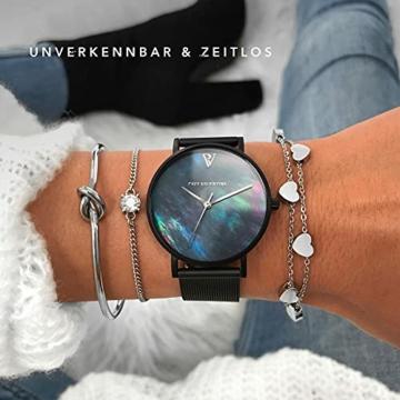 Paul Valentine Damenuhr - Black Seashell - Armbanduhr mit Ziffernblatt aus Perlmutt, kratzfestes Glas, Edelstahl-Armband schwarz, Mesh Uhr für Damen (36mm) - 4