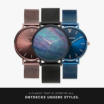 Paul Valentine Damenuhr - Black Seashell - Armbanduhr mit Ziffernblatt aus Perlmutt, kratzfestes Glas, Edelstahl-Armband schwarz, Mesh Uhr für Damen (36mm) - 6