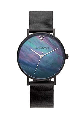 Paul Valentine Damenuhr - Black Seashell - Armbanduhr mit Ziffernblatt aus Perlmutt, kratzfestes Glas, Edelstahl-Armband schwarz, Mesh Uhr für Damen (36mm) - 1