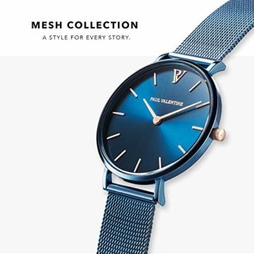Paul Valentine - Damenuhr - Blue Mesh - 32 mm Armbanduhr mit schönem Metallic-Ziffernblatt in blau, kratzfestes Glas, Mesh-Armband, Zeitlose Uhr für Damen - 2