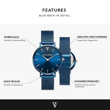 Paul Valentine - Damenuhr - Blue Mesh - 32 mm Armbanduhr mit schönem Metallic-Ziffernblatt in blau, kratzfestes Glas, Mesh-Armband, Zeitlose Uhr für Damen - 3