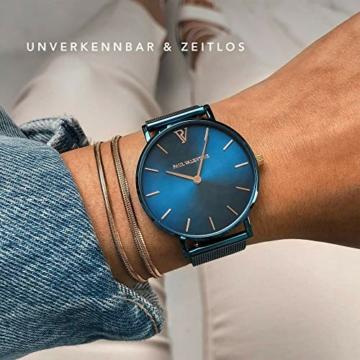 Paul Valentine - Damenuhr - Blue Mesh - 32 mm Armbanduhr mit schönem Metallic-Ziffernblatt in blau, kratzfestes Glas, Mesh-Armband, Zeitlose Uhr für Damen - 4