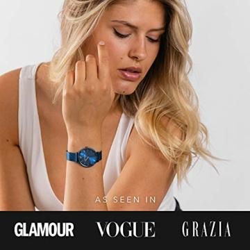 Paul Valentine - Damenuhr - Blue Mesh - 32 mm Armbanduhr mit schönem Metallic-Ziffernblatt in blau, kratzfestes Glas, Mesh-Armband, Zeitlose Uhr für Damen - 5