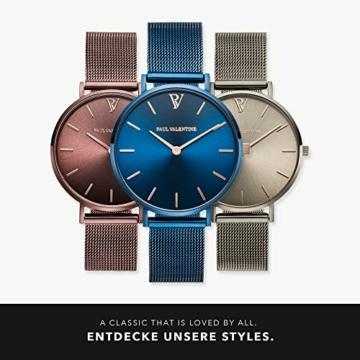 Paul Valentine - Damenuhr - Blue Mesh - 32 mm Armbanduhr mit schönem Metallic-Ziffernblatt in blau, kratzfestes Glas, Mesh-Armband, Zeitlose Uhr für Damen - 6
