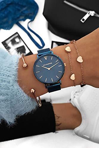 Paul Valentine - Damenuhr - Blue Mesh - 32 mm Armbanduhr mit schönem Metallic-Ziffernblatt in blau, kratzfestes Glas, Mesh-Armband, Zeitlose Uhr für Damen - 7