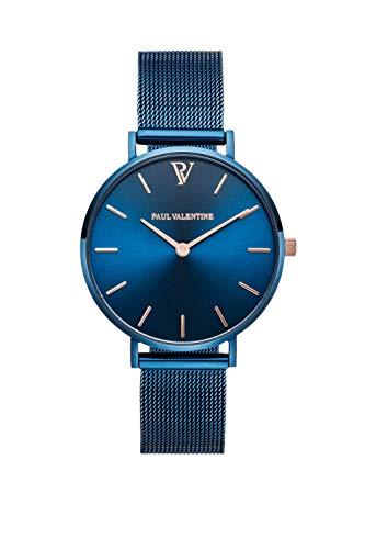 Paul Valentine - Damenuhr - Blue Mesh - 32 mm Armbanduhr mit schönem Metallic-Ziffernblatt in blau, kratzfestes Glas, Mesh-Armband, Zeitlose Uhr für Damen - 1
