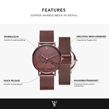 Paul Valentine Damenuhr - Coffee Marble - Armbanduhr mit Metallic-Ziffernblatt, kratzfestes Glas, schmales Mesh-Armband braun, Uhr für Damen zum (36mm) - 2