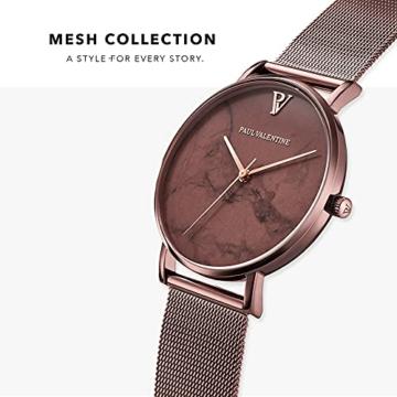 Paul Valentine Damenuhr - Coffee Marble - Armbanduhr mit Metallic-Ziffernblatt, kratzfestes Glas, schmales Mesh-Armband braun, Uhr für Damen zum (36mm) - 3