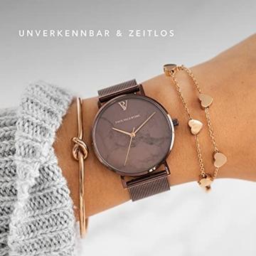 Paul Valentine Damenuhr - Coffee Marble - Armbanduhr mit Metallic-Ziffernblatt, kratzfestes Glas, schmales Mesh-Armband braun, Uhr für Damen zum (36mm) - 4