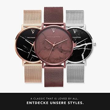 Paul Valentine Damenuhr - Coffee Marble - Armbanduhr mit Metallic-Ziffernblatt, kratzfestes Glas, schmales Mesh-Armband braun, Uhr für Damen zum (36mm) - 6