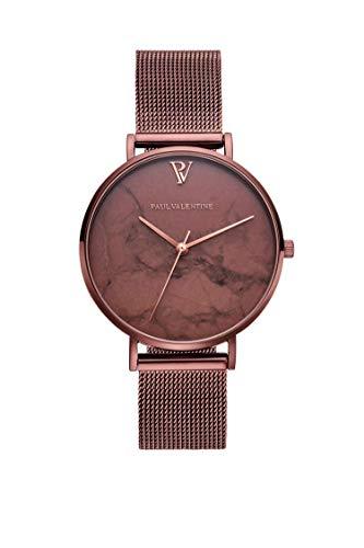Paul Valentine Damenuhr - Coffee Marble - Armbanduhr mit Metallic-Ziffernblatt, kratzfestes Glas, schmales Mesh-Armband braun, Uhr für Damen zum (36mm) - 1