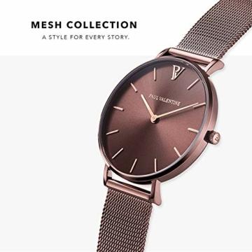 Paul Valentine - Damenuhr - Coffee Mesh - 36 mm Armbanduhr mit stilvollem Metallic-Ziffernblatt, kratzfestes Glas, schmales Mesh-Armband, Uhr für Damen - 2