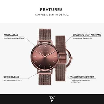 Paul Valentine - Damenuhr - Coffee Mesh - 36 mm Armbanduhr mit stilvollem Metallic-Ziffernblatt, kratzfestes Glas, schmales Mesh-Armband, Uhr für Damen - 3
