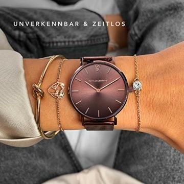 Paul Valentine - Damenuhr - Coffee Mesh - 36 mm Armbanduhr mit stilvollem Metallic-Ziffernblatt, kratzfestes Glas, schmales Mesh-Armband, Uhr für Damen - 4