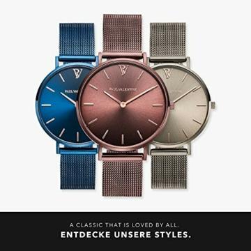 Paul Valentine - Damenuhr - Coffee Mesh - 36 mm Armbanduhr mit stilvollem Metallic-Ziffernblatt, kratzfestes Glas, schmales Mesh-Armband, Uhr für Damen - 6