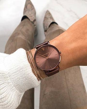 Paul Valentine - Damenuhr - Coffee Mesh - 36 mm Armbanduhr mit stilvollem Metallic-Ziffernblatt, kratzfestes Glas, schmales Mesh-Armband, Uhr für Damen - 7