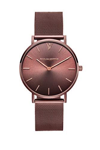 Paul Valentine - Damenuhr - Coffee Mesh - 36 mm Armbanduhr mit stilvollem Metallic-Ziffernblatt, kratzfestes Glas, schmales Mesh-Armband, Uhr für Damen - 1